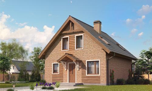 Дом из кирпича с двускатной крышей