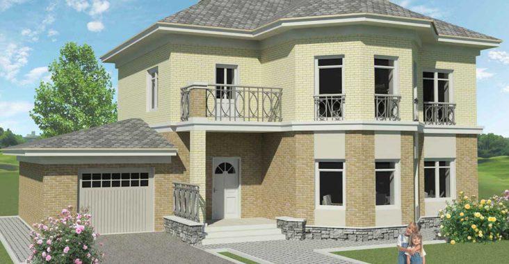 Двухэтажный кирпичный дом с подвалом