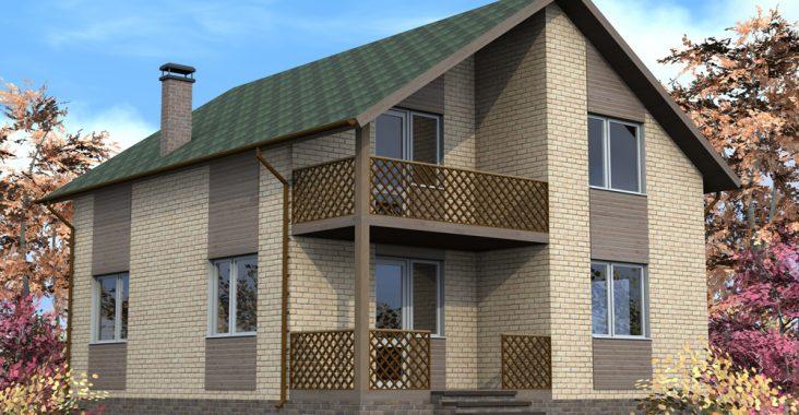 Кирпичный дом с двускатной крышей
