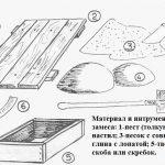 Материал и инструменты для изготовления кирпичей