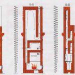 Схема двухэтажной печи в разрезе