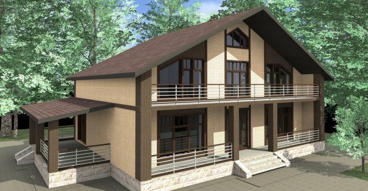Дом из кирпича с террасой
