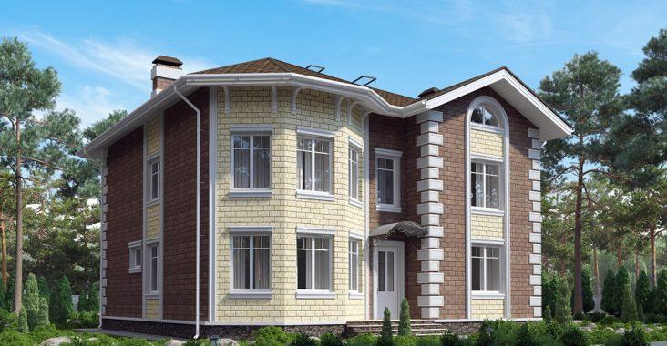 Двухэтажный коттедж из кирпича