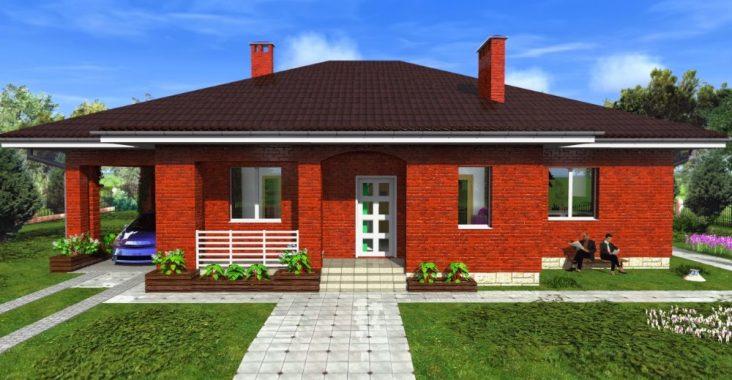 Проект кирпичного одноэтажного дома