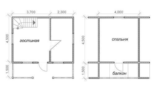 Вариант планировки дачного дома с балконом